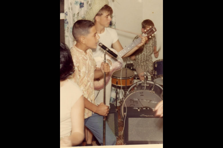 {Wild Thing}.  Frank, circa 1966 (Age 13) with his first {Rock} band in Huntington, Long Island, NY.