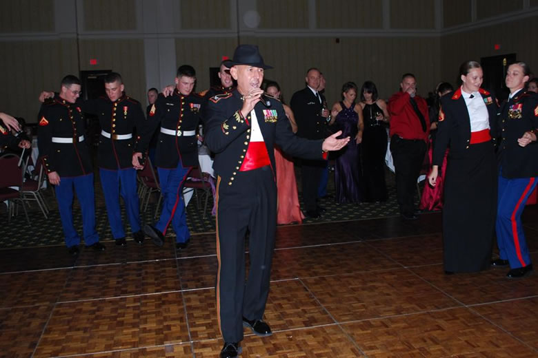 "Colonel Frank at Marine Corps Ball 2007, Virginia Beach,  ""Start, spreadin\* the news....\"""