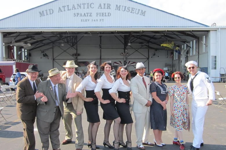 Entertainers at the WWII Weekend, Reading PA. Ultimate Abbott & Costello Tribute Show, the Manhattan Dolls, FSF, Jazz Singer Theresa Eaman and Swing Dancers Joe and Heidi from NYC.